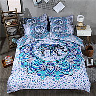 cheap Contemporary Duvet Covers-Duvet Cover Sets Geometric 3 Piece Poly/Cotton Reactive Print Poly/Cotton 1pc Flat Sheet 3pcs (1 Duvet Cover, 2 Shams) 4pcs (1 Duvet