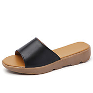 Women's Slippers & Flip-Flops Comfort Leather Summer Fall Outdoor Office & Career Casual Flat Heel Blue Orange Black White Flat