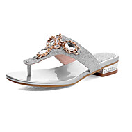 cheap Women's Slippers & Flip-Flops-Women's Shoes Leatherette Spring Summer Comfort Sandals Walking Shoes Chunky Heel Open Toe Buckle for Casual Dress Gold Silver