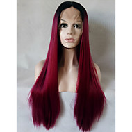 Kvinder Syntetiske parykker Blonde Forside Medium Lang Rett Svart / Burgund Ombre-hår Naturlig parykk costume Parykker