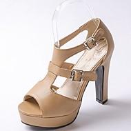 נשים סנדלים נוחות חדשני נעליים פורמלית דמוי עור PU קיץ סתיו חתונה שמלה מסיבה וערב הליכה נוחות חדשני נעליים פורמלית אבזם עקב עבהלבן שחור
