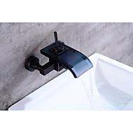 Contemporary Antique Centerset Waterfall with  Ceramic Valve Single Handle Two Holes for  Oil-rubbed Bronze , Bathtub Faucet