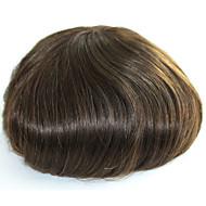 Cilt erkekler saç toupee erkekler için insan saç parçaları renk 4 # gerçek saç toupee erkekler için peruk saç değiştirme