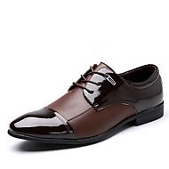 メンズ 靴 レザー マイクロファイバー 春 夏 秋 冬 去勢牛の靴 フォーマルシューズ ファッションブーツ オックスフォードシューズ ウォーキング リベット コンビ 用途 結婚式 パーティー ブラック Brown