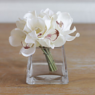 6 şube gerçek dokunmatik zümbiyum yapay çiçekler ev dekorasyonu