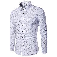 男性用 日常 オールシーズン シャツ, カジュアル シャツカラー 幾何学模様 ポリエステル 長袖