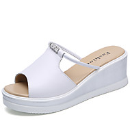 Women's Sandals Slingback Light Soles Summer Cowhide Casual Party & Evening White Black 1in-1 3/4in