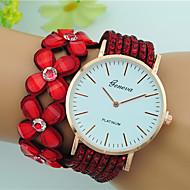 Mulheres Bracele Relógio Quartzo Mostrador Grande Couro Banda Flor Boêmio Preta Branco Azul Vermelho Marrom
