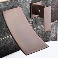 アンティーク 組み合わせ式 滝状吐水タイプ with  セラミックバルブ 二つ シングルハンドル二つの穴 for  オイルブロンズ , バスルームのシンクの蛇口
