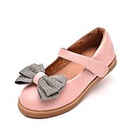 Para Meninas Sapatos de Barco Chanel Couro Ecológico Primavera Outono Casual Salto Grosso Preto Rosa claro Castanho Escuro 2,5 a 4,5 cm