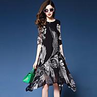 Χαμηλού Κόστους YHSP®-Γυναικεία Εξόδου Καθημερινό / Εκλεπτυσμένο Φαρδιά / Σιφόν / Swing Φόρεμα - Φλοράλ / Εκτύπωση, Κομψό / Εκτύπωση / Σιφόν Μίντι / Ασύμμετρο