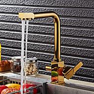 baratos Torneiras de Cozinha-Torneira de Cozinha - Moderna / Arte Deco / Retro / Modern Ti-PVD bico padrão Pia / Duas alças de um furo
