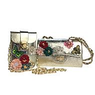 女性 バッグ オールシーズン ポリウレタン バッグセット 2個の財布セット ラインストーン アップリケ パール装飾 ビーズ スパンコール フラワー 造花の花びら 刺繍 パターン のために カジュアル ゴールド シルバー