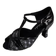 baratos Sapatilhas de Dança-Mulheres Sapatos de Dança Latina Glitter Sandália Salto Personalizado Personalizável Sapatos de Dança Preto e Prateado / Vermelho / Bronze
