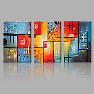 baratos -Pintados à mão AbstratoAbstracto 3 Painéis Tela Pintura a Óleo For Decoração para casa