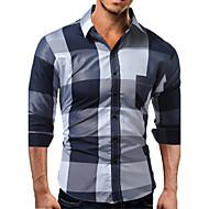 男性用 シャツ スリム カラーブロック コットン