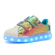 Dames Schoenen Synthetisch Herfst Winter Comfortabel Oplichtende schoenen Sneakers Ronde Teen Sprankelend glitter Haak & Lus LED Voor