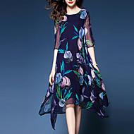 Χαμηλού Κόστους -Γυναικεία Μεγάλα Μεγέθη Εξόδου / Δουλειά Καθημερινό / Εκλεπτυσμένο Swing Φόρεμα Στάμπα Μίντι / Ως το Γόνατο Ψηλοκάβαλο / Floral Patterns / Φαρδιά