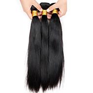 Brasiliansk hår Lige Jomfruhår Menneskehår, Bølget 3 Bundler 8-26inch Menneskehår Vævninger Sort / Ret