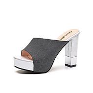 Kadın Terlik & Flip-flop Rahat Patentli Deri Yaz Sonbahar Günlük Elbise Rahat Kalın Topuk Beyaz Siyah Pembe 4inç-4 3/4inç