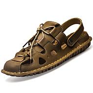 Masculino Sandálias Couro Ecológico Primavera Verão Salto Baixo Castanho Escuro Khaki Menos de 2,5cm