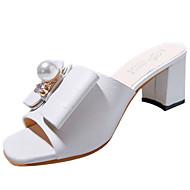 Feminino Chinelos e flip-flops Couro Ecológico Verão Caminhada Pérolas Rasteiro Branco Preto Bege 5 a 7 cm