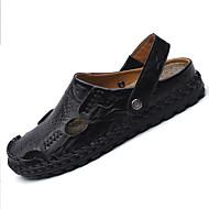 Masculino Sandálias Conforto Couro Ecológico Verão Ar-Livre Caminhada Rasteiro Preto Azul Escuro Amarelo Menos de 2,5cm