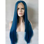 Kvinder Syntetiske parykker Blonde Front Medium Lang Glat Blå Naturlig paryk kostume Parykker