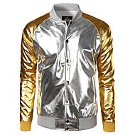 קולור בלוק צווארון חולצה ג'קט - בגדי ריקוד גברים / שרוול ארוך