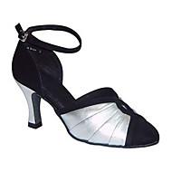 billige Kustomiserte dansesko-Dame Moderne sko Silke Sandaler Ytelse Kryssdrapering Kubansk hæl Kan spesialtilpasses Dansesko Svart-Hvit