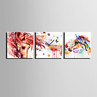 MINI SIZE E-HOME Abstract Colored Horse Clock in Canvas 3pcs