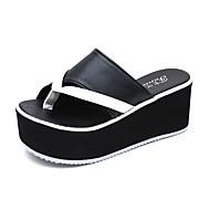 Dame Tøfler og flip-flops Komfort Slouch Støvler PU Sommer Avslappet Gange Komfort Slouch Støvler Flat hæl Hvit Svart Flat