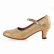 """billige Moderne sko-Dame Moderne Glitter Sandaler Nybegynner Gummi Kubansk hæl Gull Sølv 2 """"- 2 3/4"""" Kan spesialtilpasses"""