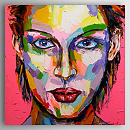 billiga Människomålningar-Hang målad oljemålning HANDMÅLAD - Människor Abstrakt Inkludera innerram / Sträckt kanfas