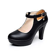 tanie Small Size Shoes-Damskie Obuwie Skóra Wiosna Jesień formalne Buty Szpilki Gruby obcas Pointed Toe na Biuro i kariera White Black