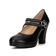 cheap Women's Heels-Women's Shoes Leather Spring / Fall Formal Shoes Heels Chunky Heel Round Toe Rhinestone / Buckle for Office & Career / Party & Evening /