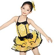 お買い得  セール-子供用ダンスウェア ドレス 子供用 性能 ポリエステル オーガンザ ライクラ 多層 クリスタル/ラインストーン ノースリーブ ナチュラルウエスト