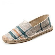 cheap Plus Size Shoes-Unisex Shoes Canvas Cotton Summer Fall Light Soles Moccasin Espadrilles Loafers & Slip-Ons Flat Heel Round Toe Plaid Gore for Casual