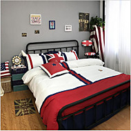 Duvet Cover Sets Painting 4 Piece Cotton Cloth Machine Made Cotton Cloth 1pc Duvet Cover 2pcs Shams 1pc Flat Sheet