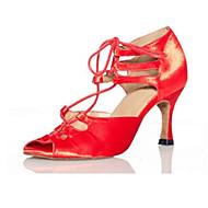 "cheap Latin Shoes-Women's Latin Silk Sandal Performance Criss-Cross Stiletto Heel Black-white Purple Red 3"" - 3 3/4"" Customizable"