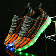 Jongens Sneakers Lichtzolen Oplichtende schoenen Tule Lente Zomer Causaal Wandelen Platte hak Zwart zwart/wit Oranje & Zwart Plat