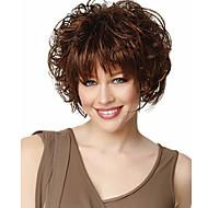Pelucas sintéticas Ondulado Estilo Con flequillo Sin Tapa Peluca Chocolate Pelo sintético Mujer Peluca Corta Peluca natural