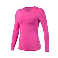 Dame Løbe-T-shirt Langærmet Fitness, Løb & Yoga Kompressionstøj Toppe for Yoga Løbe Træning & Fitness Fritidssport Elastin Terylene Stram