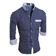 Stående krave Tynd Herre - Stribet Ternet Bomuld Aktiv Plusstørrelser Skjorte
