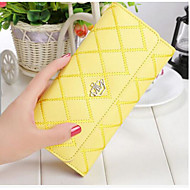 Women Bags All Seasons Cowhide Checkbook Wallet for Casual Black Yellow Fuchsia