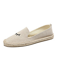 cheap Women's Slip-Ons & Loafers-Women's Shoes Linen Canvas Cotton Summer Fall Light Soles Moccasin Espadrilles Loafers & Slip-Ons Flat Heel Round Toe Appliques for