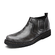 お買い得  メンズブーツ-男性用 靴 レザーレット 春 秋 コンフォートシューズ ブーツ ミドルブーツ ゴア のために 結婚式 カジュアル パーティー グレー ダークブラウン