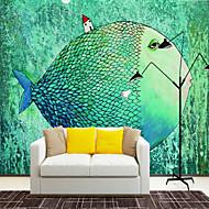 billige Tapet-Art Deco 3D Fisk Hjem Dekor Søtt Tapetsering, Lerret Materiale selvklebende nødvendig Veggmaleri, Tapet