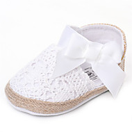 cheap Baby Shoes-Girls' Shoes Fabric Summer Fall Comfort Flats Bowknot Ribbon Tie for Wedding Casual Outdoor Party & Evening Dress White Yellow Fuchsia