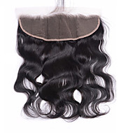 Brazilian Virgin Hair Body Wave 13x4 Lace Frontal Closure 12-20 inch Free Part Bleached Knots Baby Hair